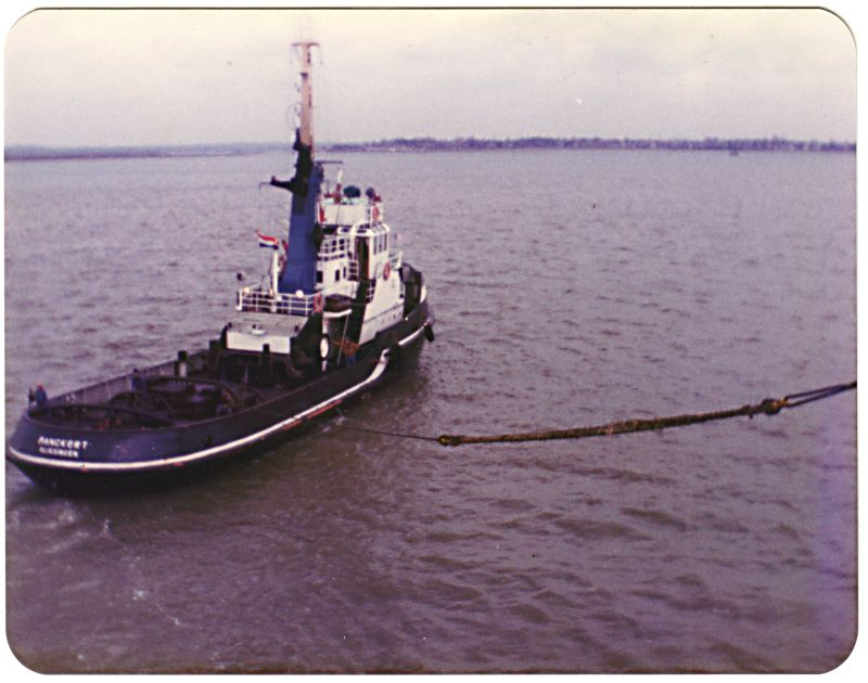 Tug BANCKERT leaving with NORFOLK FERRY. Date: c15 April 1983.