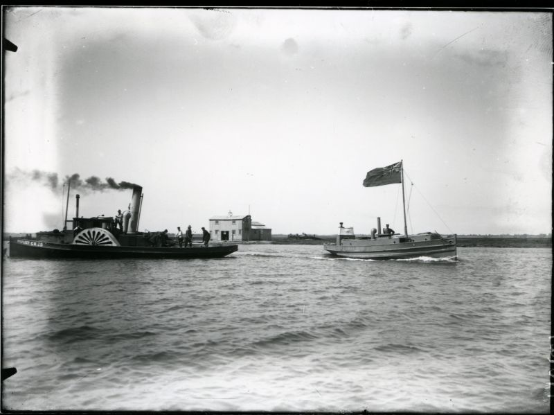 Oyster dredger PYEFLEET CK28 and Police launch EDWARD VII. From Colchester and Essex Museums.