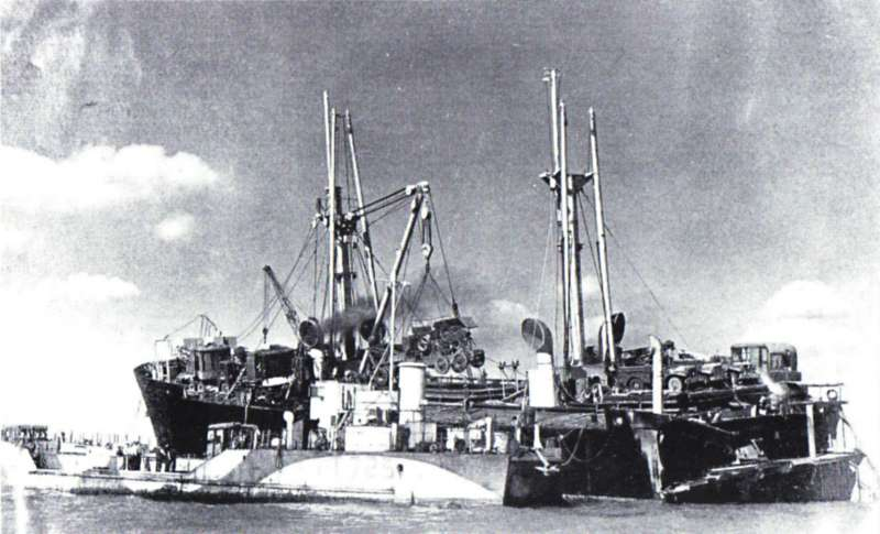 Discarging cargo from HELENA MODJESKA, after she ran ashore on the Goodwin Sands 12 September 1946 Date: October 1946.