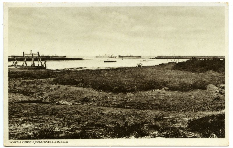 North Creek, Bradwell-on-Sea. The VOLTAIRE is believed to be the vessel on the left. Date: 1932.