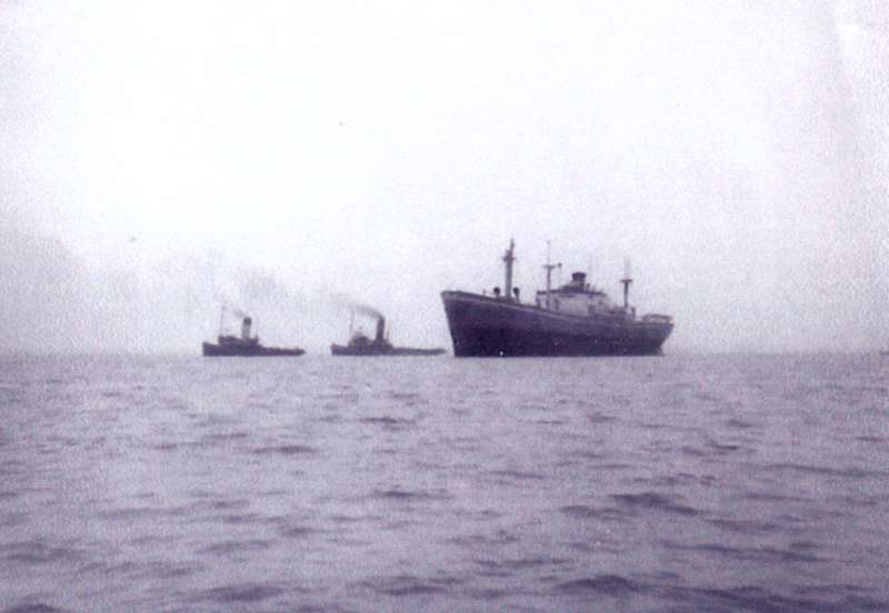 MICHALAKIS refloated by tugs NAPIA and OCEAN COCK after her time ashore opposite Empress Avenue, West Mersea. She was towed to Gravesend, arriving the same day. 