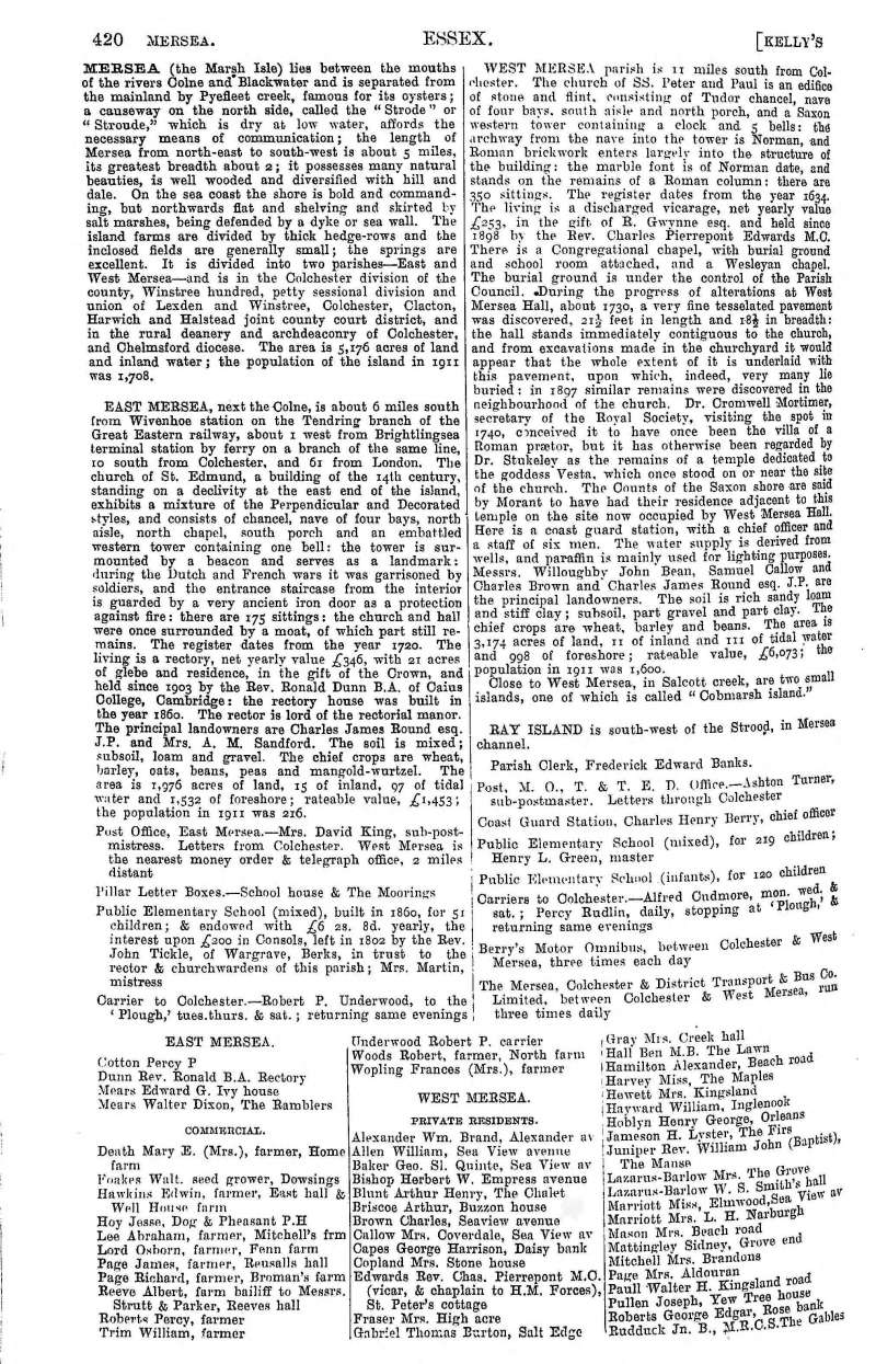 Kelly's Directory 1922 Page 420.