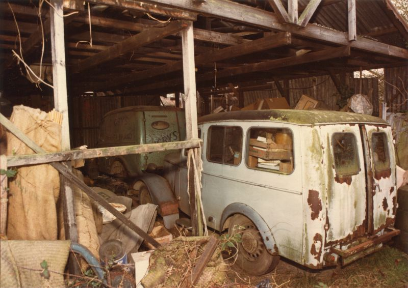 Bradford vans in Digby's shed. Thought to be at the time of the sale following Hugh Banham's death 