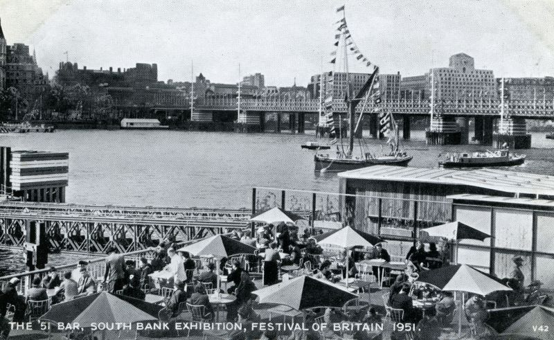 The '51 Bar, South Bank Exhibition, Festival of Britain 1951. Sailing barge SARA. 