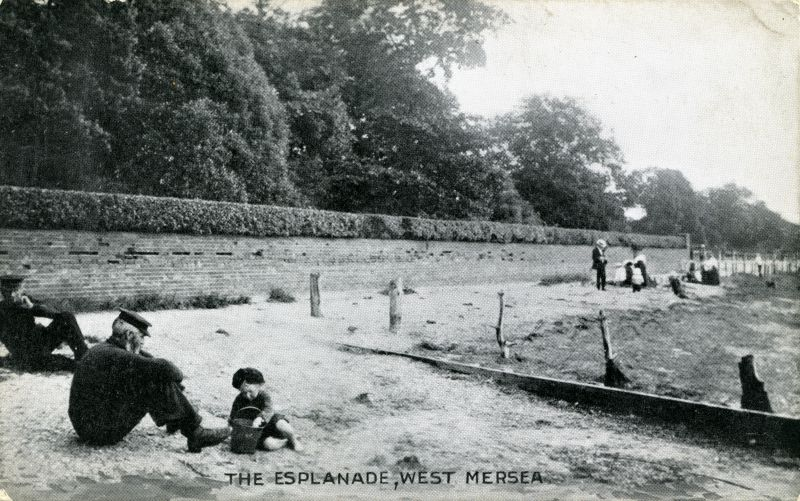 The Beach, West Mersea. This is taken by the Monkey Steps and the wall is the wall in front of Orleans. The wall was later plastered. The name Esplanade on the postcard title is not used for this area. Postcard from E T W Dennis, No. 063667. 