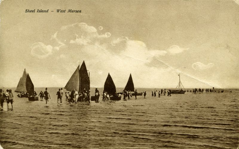 Sheel Island - West Mersea. Trippers and beach brigs. Postcard. Another postcard with this view was mailed 19 September 1931 