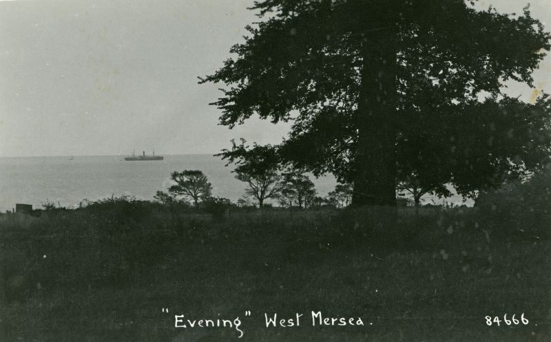 Evening, West Mersea. Cargo ship in the Blackwater. Postcard 84666. 