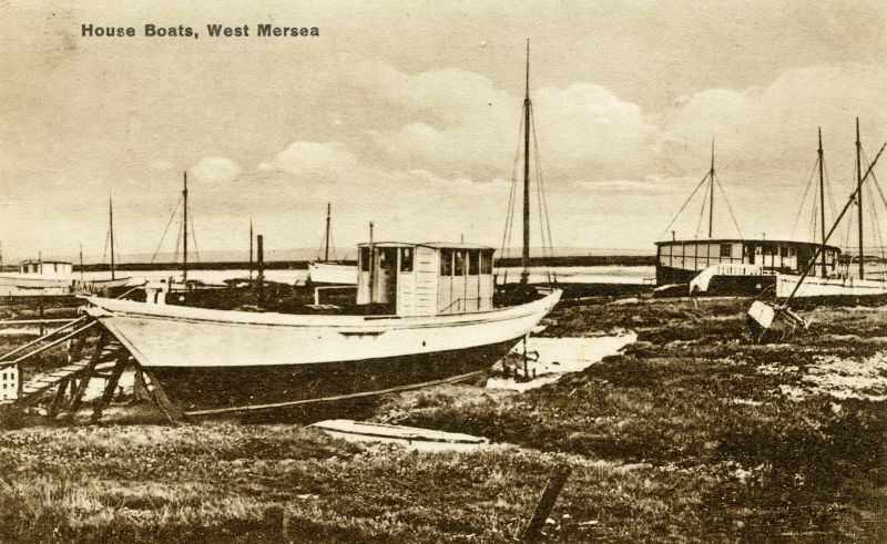 House Boats, West Mersea. Postcard mailed 1931 to Miss Muriel Smith, Norbury. JEQUITA ? 