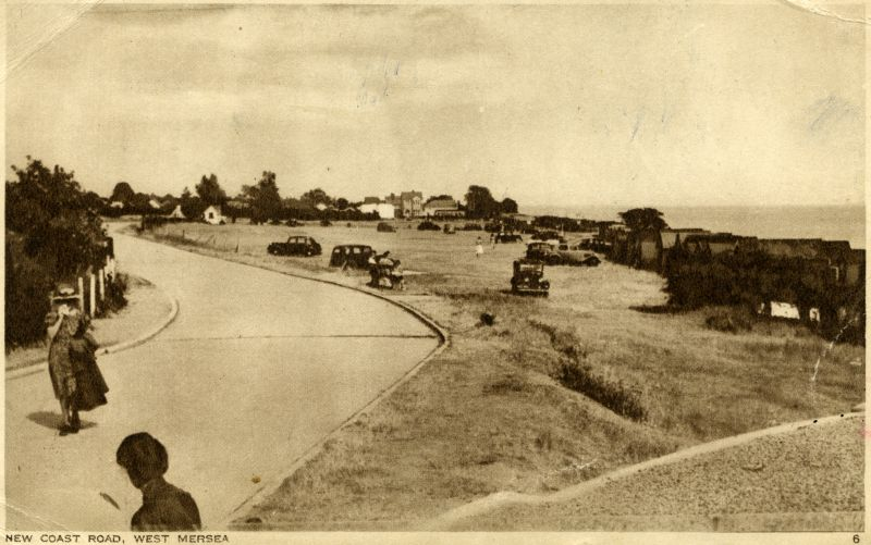 New Coast Road, West Mersea. Victoria Esplanade - the Concrete Road - looking east from Two Sugars Cafe (WW2 gun emplacement). 