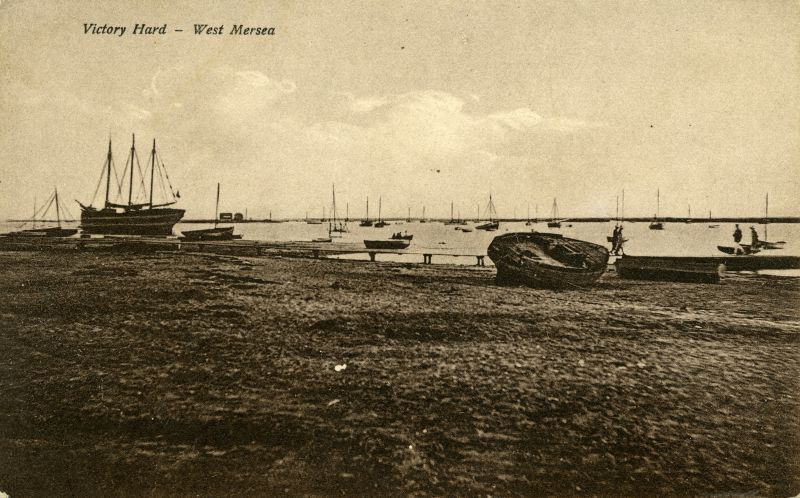 47. ID PG2_357 Victory Hard, West Mersea. Pre-war picture the barge ZEBRINA having an engine fitted by Mr Stone of Brightlingsea - information from Harry Booth via Ron Green.