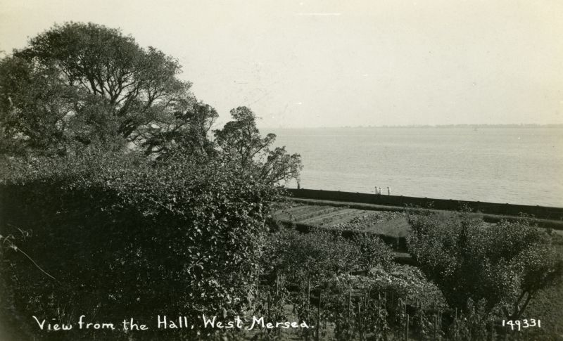 View from the Hall, West Mersea. Postcard 149331 mailed 8 September 1939 from Rose Inn, Peldon. 