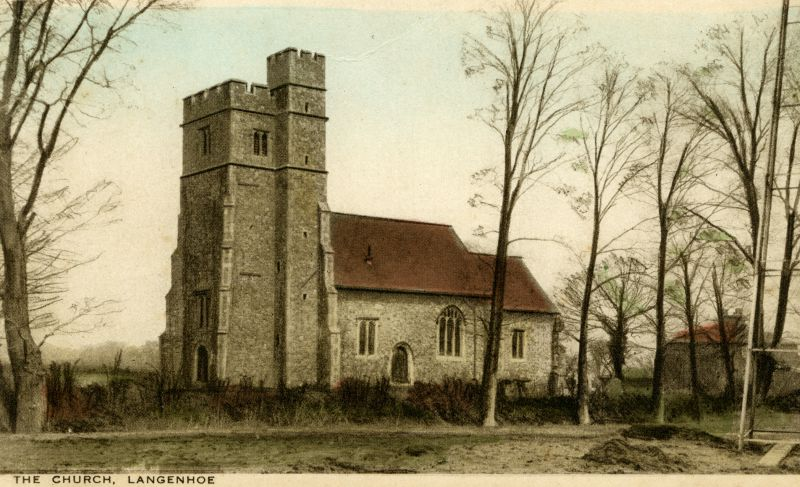 Langenhoe Church. Postcard published by M. Harrison, Post Office, Abberton.