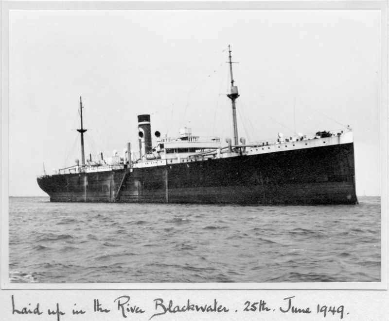 Blue Star Line GAELIC STAR Official No. 140302 in the River Blackwater. Believed to have arrived December 1948. She was sold to Italian owners August 1949 and renamed CAPO NOLI. Date: 25 June 1949.