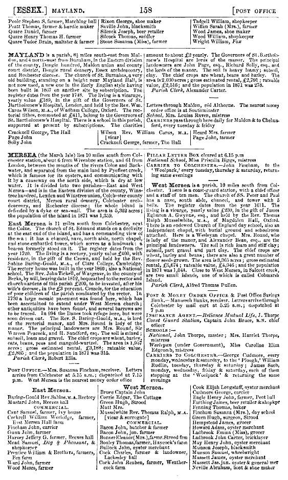Kelly's 1874 Directory Page 158 - Mersea.