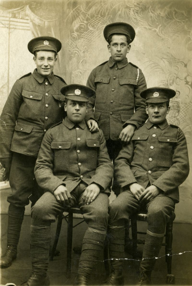 Rowland (Dick) Cook back left and Bert Cundy front left were both killed at the Battle of the Somme.