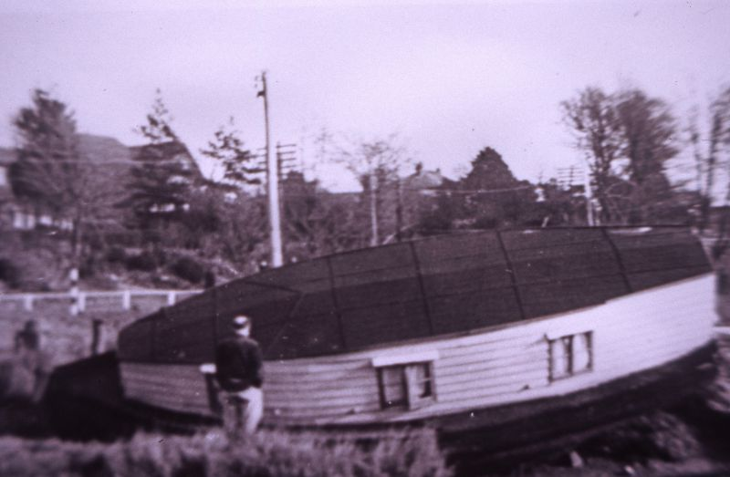 Houseboat at West Mersea after the Great Flood of 1953. 