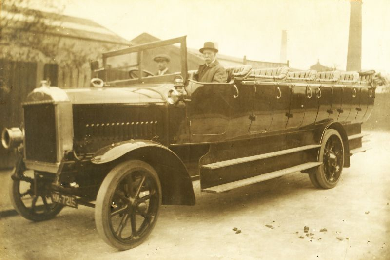 A.W. Berry. Charabanc HK7215. Dennis 40hp 29 seat charabanc, acquired March 1920. 