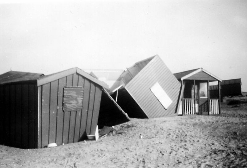 Beach huts at West Mersea after the 1953 Great Flood. 