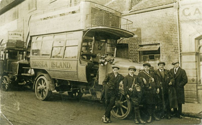 Primrose Bus to Mersea in St. Johns Street, Colchester before 1925. Fred Chatters second from the right. 