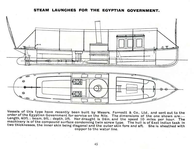24. ID BF73_001_079_046 Steam launches for the Egyptian Government for service on the Nile. Forrestt & Co. Ltd., 1905 Catalogue, Page 45