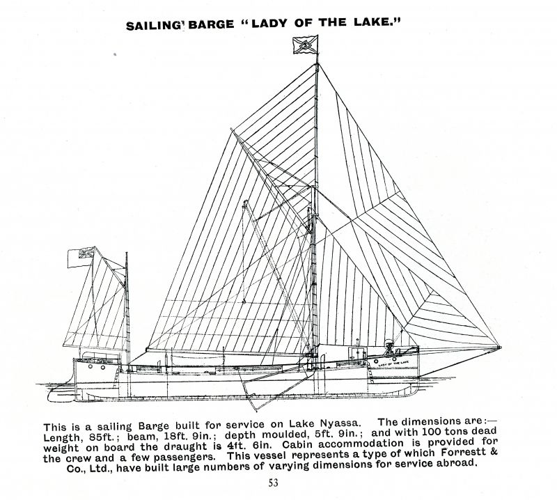 24. ID BF73_001_079_054 Sailing barge LADY OF THE LAKE built for service on Lake Nyassa.