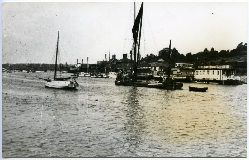From Lower Thames file. Unidentified barge passing Benfleet.