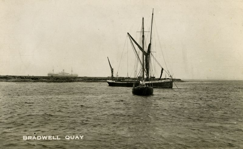 Barge BLACKWATER at Bradwell on Sea. Date: 1920s.
