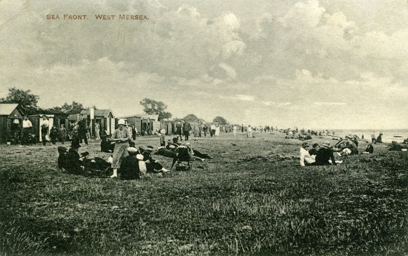 Sea Front, West Mersea. Postcard mailed 12 July 1926 from 2 Alexandria Cottages, East Mersea. 