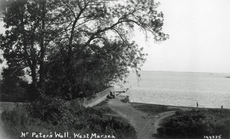 Nr St. Peters Well, West Mersea. Monkey steps and path down to the monkey beach. Postcard 149335, sent by Howard Winch to his wife 1940 - 1941. He says The wall is that of the old Squire's garden - the house now a convalescent home.' 