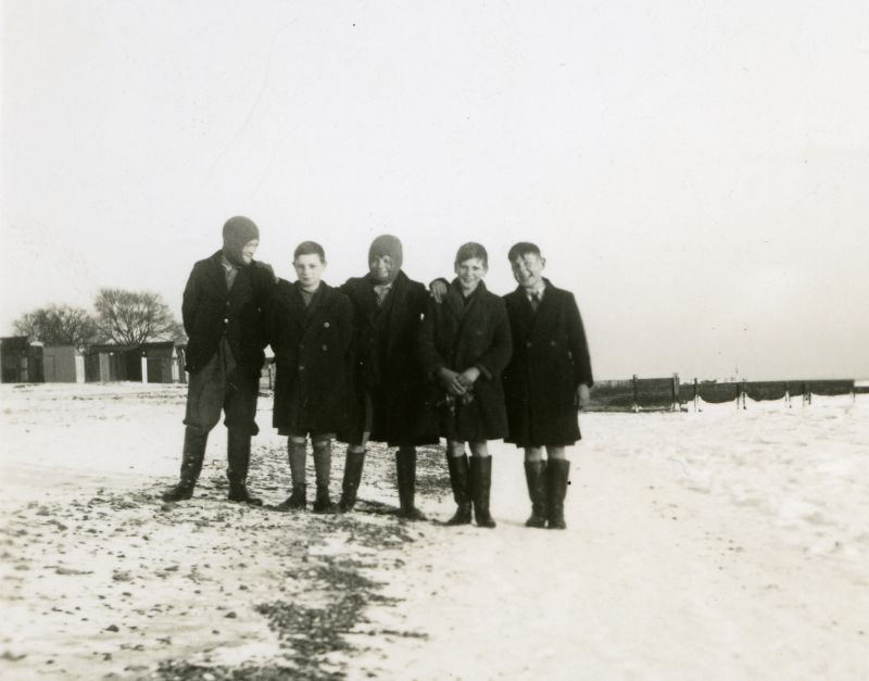Five boys on the beach at Mersea early 1940. The sea on the right is frozen. Who are the boys ? Photograph taken by Howard Winch - Pauline's father. 