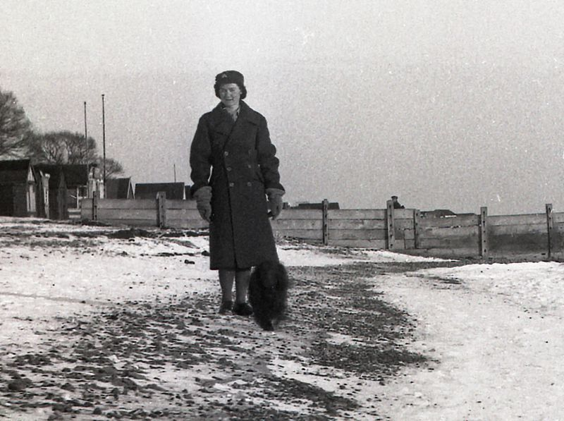 Patricia Grace (Fairy) Winch wearing her ATS uniform - on the beach near the bottom of Empress Avenue. Photo by Howard Winch, Patricia's father. 