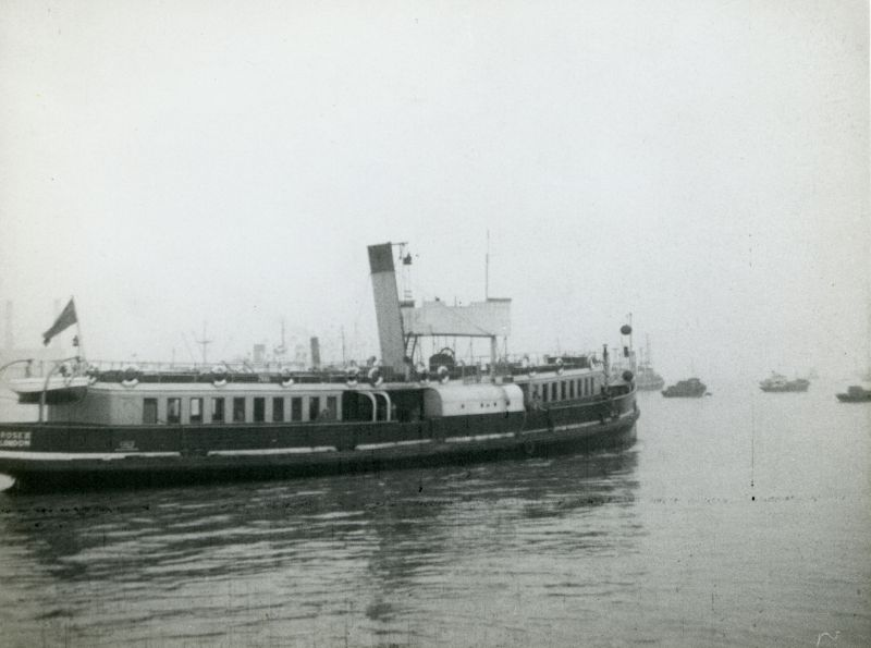 Tilbury Ferry ROSE II in the final year of steam ferry operation. ROSE was one of three passenger ferries. She was built 1901 by A.W. Robertson, Canning Town. In 1961 she was renamed ROSE II to free the name for a new ferry, and ROSE II was broken up in Holland May 1961. Official No. 112843. 