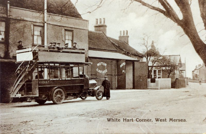 White Hart Corner. Berry's bus waiting on Colchester - West Mersea service. 