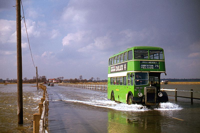 Eastern National Bristol double decker bus ONO80 crossing the Strood onto Mersea Island at high tide.
