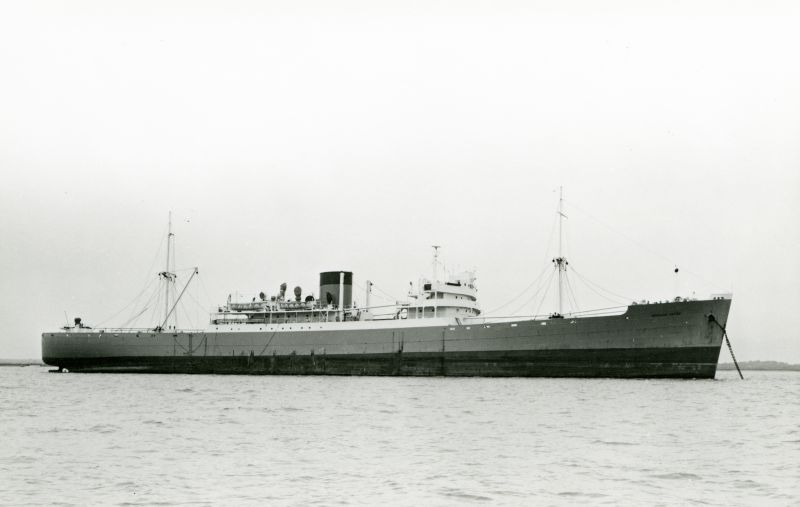 Union Castle refrigerated cargo ship ROWALLAN CASTLE laid up in the River Blackwater. These Union Castle ships were primarily used in the seasonal fruit trade and were regular visitors to the River Blackwater, making it difficult to date this photograph. ROWALLAN CASTLE was built 1943 and scrapped 1971 Date: c1968.