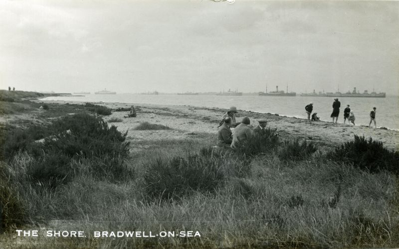 The Shore, Bradwell on Sea. The extreme right hand ship is believed to be HIGHLAND WARRIOR Date: Before May 1932.