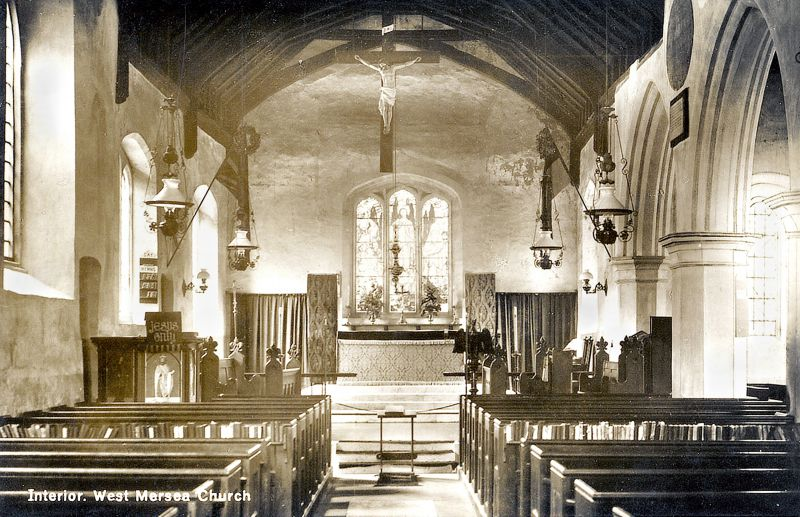 West Mersea Parish Church in the days it was lit by oil lamps