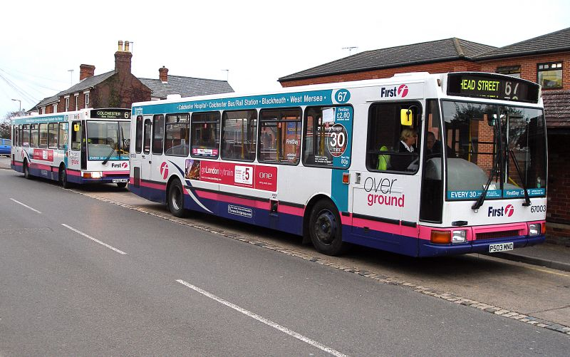 A pair of First Group buses at the terminus outside the MICA in West Mersea. Service 67 at the time was Colchester Hospital to West Mersea, every 30 minutes. It was eventually cut back to Head Street, but in 2014 re-instated to the Hospital. By October 2015 the service was once more terminating in Head Street.