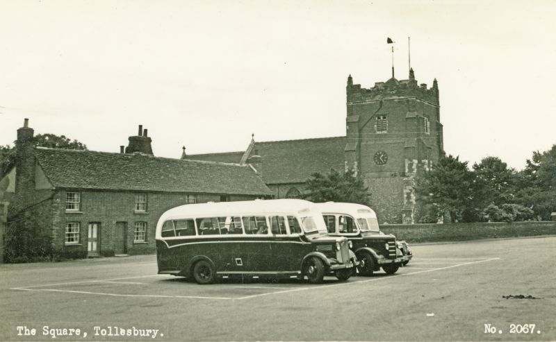 The Square and Church, Tollesbury. Postcard from Bell's No. 2067.
