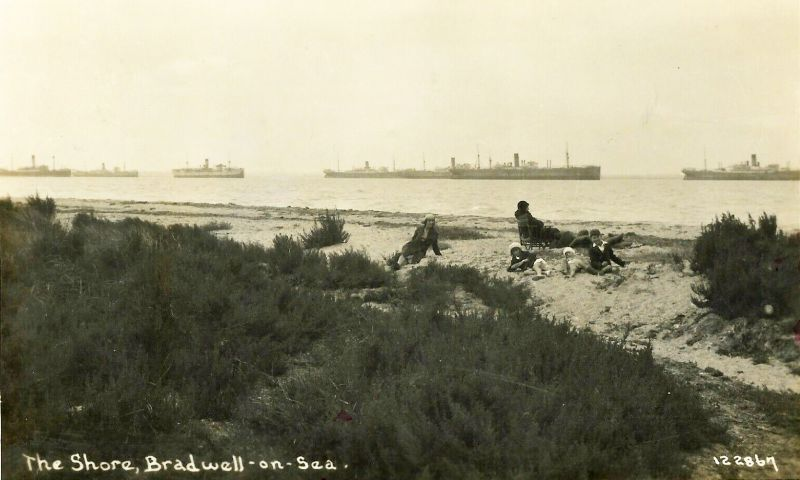 Ships on the River Blackwater - postcard 122867, unposted. Photograph taken from Bradwell. Ships from the left are thought to be 1. JASON (7 May 1931 to 20 Sep 1931), 2. PORT CURTIS, 3. HIGHLAND WARRIOR, but the others are not identified. 