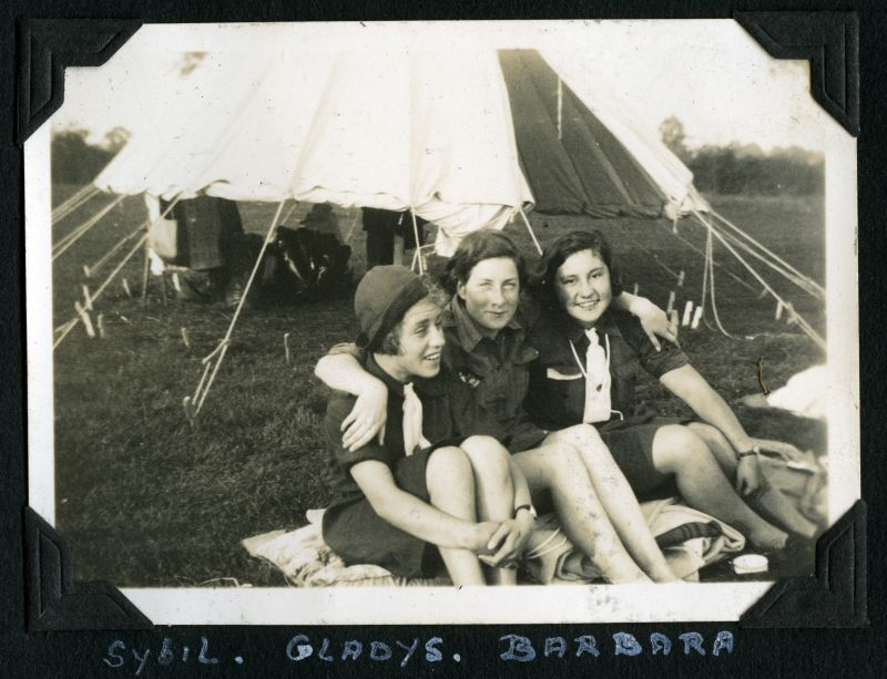 Mersea Girl Guides 1936 Camp. Sybil, Gladys, Barbara