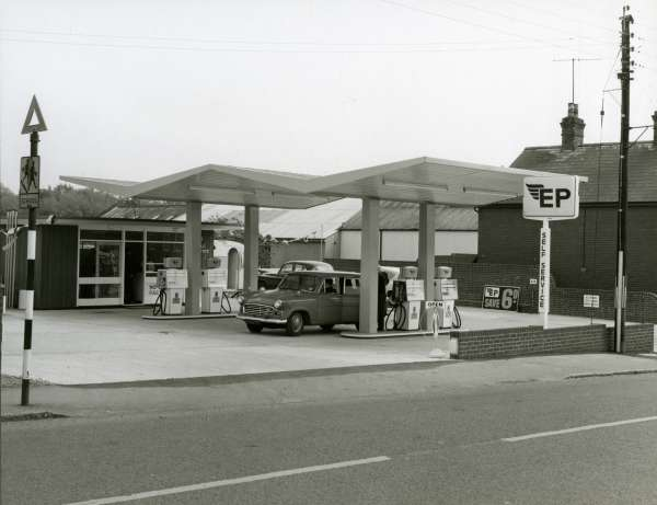 The new self-service Old Forge Filling Station 1966
