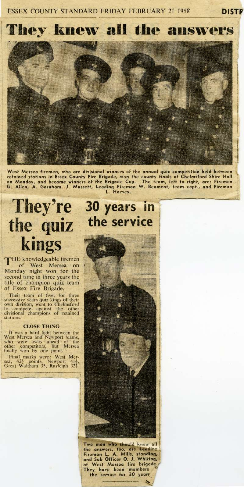 West Mersea firemen are quiz champions. Photographs G. Allen, A. Garnham, J. Mussett, W. Beament and L. Harvey. Second picture has L.A. Mills and O.J. Whiting.