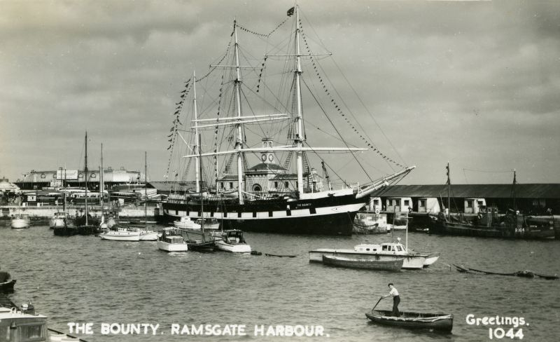 THE BOUNTY ex ALASTOR at Ramsgate. She was towed to Ramsgate in 1946 and left March 1951. Postcard 1044. Date: c1948.