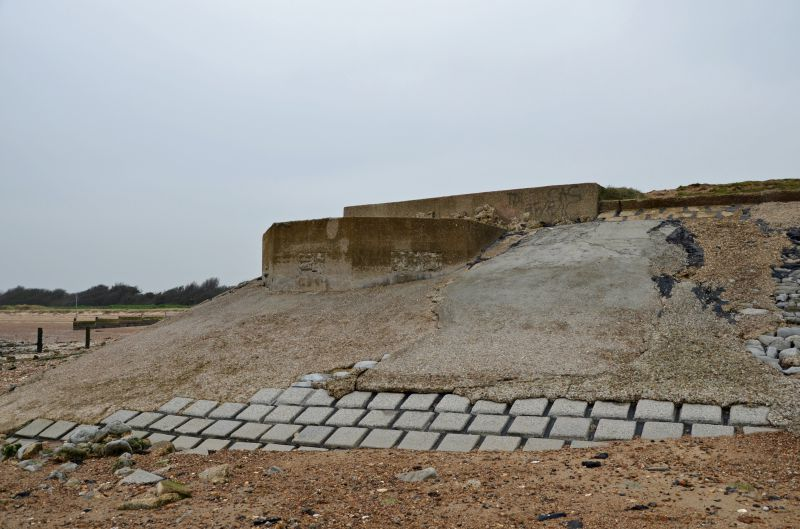 A walk round Mersea Island. WW2 remains. The double-sided pillbox now built into the sea wall at Decoy Point near Waldegraves. The lower level faced out to sea and the upper level inland 