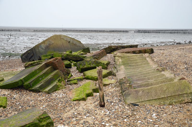A walk round Mersea Island. WW2 - remains of the Battery Observation Post on the beach below the cliffs at Cudmore Grove.
