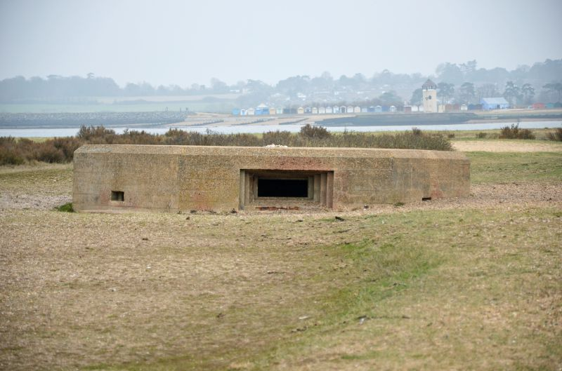 A walk round Mersea Island. WW2 remains. Pillbox on East Mersea Stone, looking across the Colne to Brightlingsea.