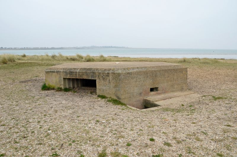 A walk round Mersea Island. WW2 remains. Pillbox on East Mersea Stone, looking across to Colne Point.