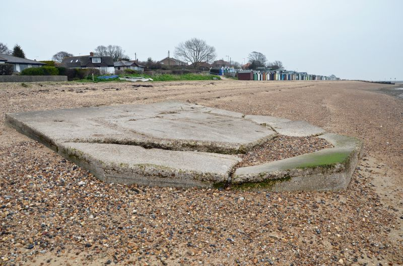 A walk round Mersea Island. WW2 remains. Remains of pillbox near Shears Court flats, looking east towards the corner of Broomhills and Victoria Esplanade.