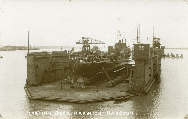 Floating dock, Harwich Harbour. In the dock is HMS DOON.